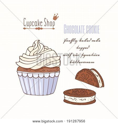 Hand drawn cupcake with doodle buttercream for pastry shop menu. Chocolate cookie flavor. Vector illustration