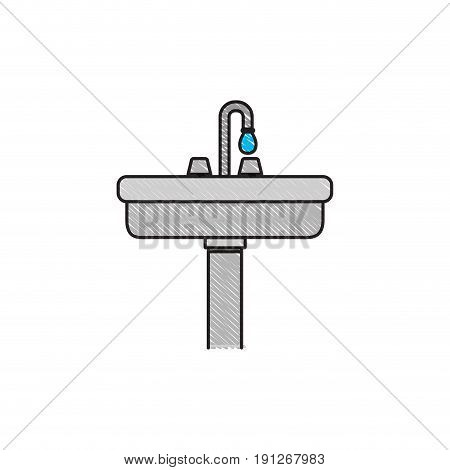 colored crayon silhouette of wide washbasin with pedestal vector illustration