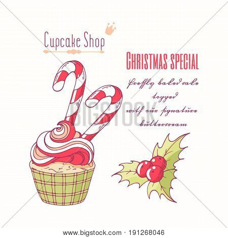 Hand drawn christmas cupcake with holly, candy cane and doodle buttercream for pastry shop menu. Vector illustration