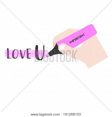 hand holding pink highlighter, flat design vector for use in business