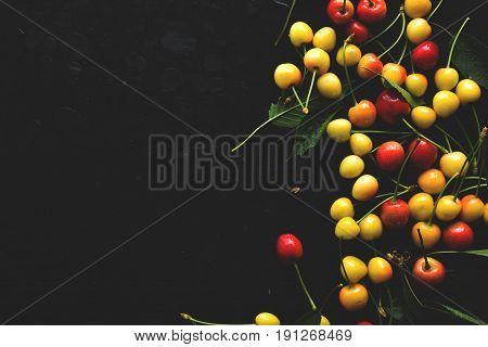Cherries. Cherry. Red yellow cherry. Fresh cherries. Cherry on dark background. healthy food concept. yellow Cherries