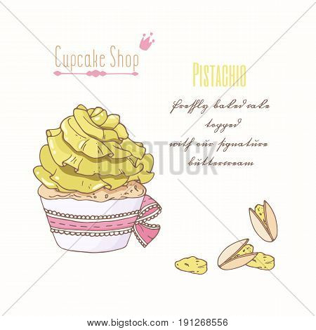 Hand drawn cupcake with doodle buttercream for pastry shop menu. Pistachio flavor. Vector illustration
