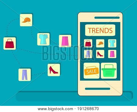 Concept of Online Shopping with Smart Phone. Flat Design