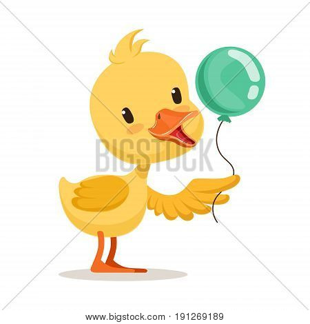 Little cartoon duckling character holding blue balloon, cute emoji vector Illustration isolated on a white background