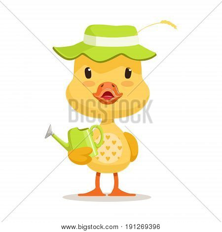 Little cartoon duckling wearing green hat standing and holding watering can, cute emoji character vector Illustration isolated on a white background