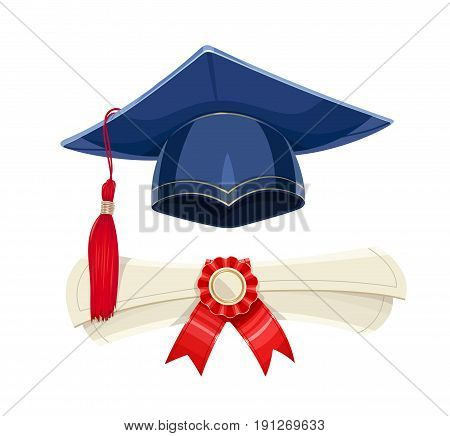 Blue academicic graduation cap and diploma scroll. Students ceremony. Finish school, college, university. Education symbol. Isolated white background. Vector illustration.