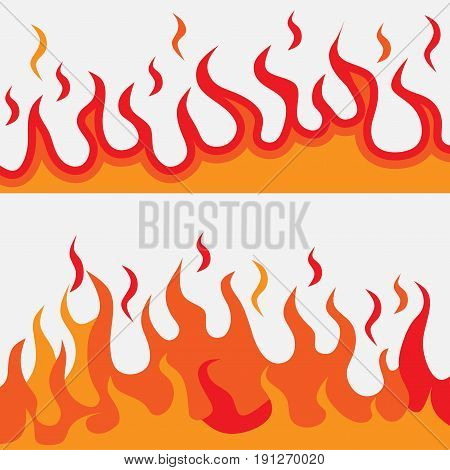 Flames of fire fire stinografii logo illustrations burning fire fire flat design vector image