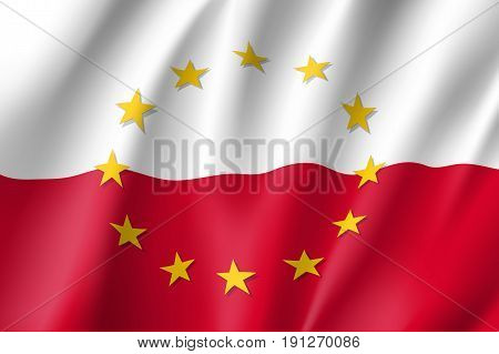 Poland national flag with a circle of European Union twelve gold stars, symbol of unity with EU, member since 1 May 2004. Realistic vector style illustration