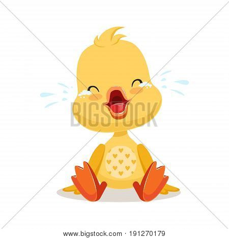 Little cartoon duckling crying, cute emoji character vector Illustration isolated on a white background