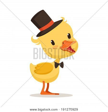 Little yellow duck chick in top hat and bow tie, cute emoji character vector Illustration isolated on a white background