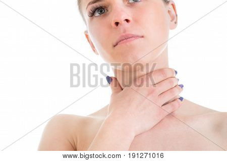 Woman with Sore Throat Remedies portrait isolated on white