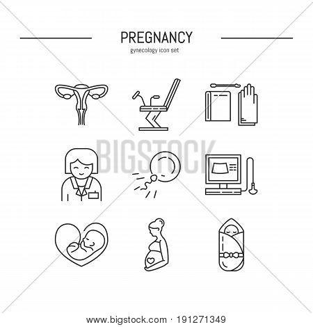 Vector gynecology symbols icon set. Medical clinic design elements,logo