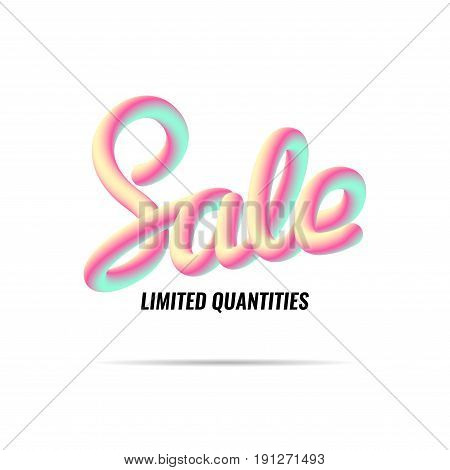 Advertising banner, sale, discounts. Handwriting Blend letters Vector illustration