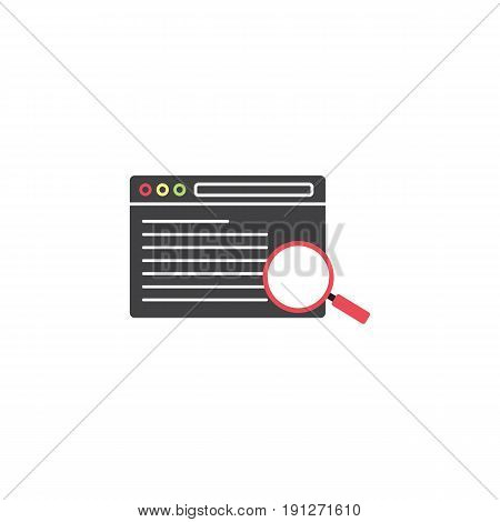 search result symbol, seo browser, magnifier linear colorful icon, pictogram on a white background, vector illustration, eps 10.