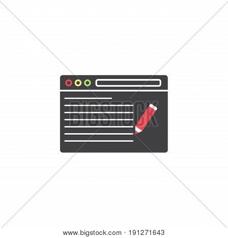seo copywriting symbol, browser with pen, linear colorful icon, pictogram on a white background, vector illustration, eps 10.