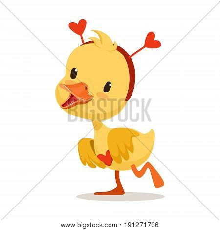Sweet yellow duckling in a red headband with hearts, emoji cartoon character vector Illustration isolated on a white background