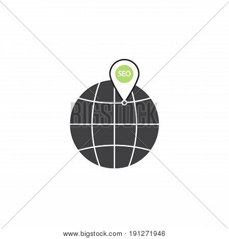 local seo symbol, globe with linear colorful icon, pictogram on a white background, vector illustration, eps 10..