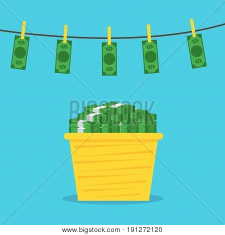 Cartoon Money Laundering on a Blue Concept Dirty Currency Banknotes Flat Design Style. Vector illustration