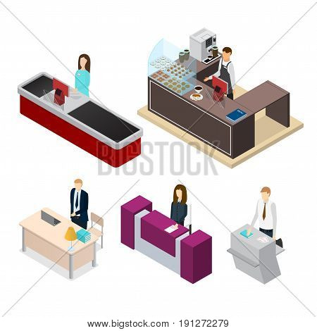 Receptionists People Set Cashier, Barista, Secretary or Registrar Isometric View at Workplace Equipment. Vector illustration