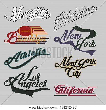 set of labels New York City California Brooklin athletic sports T-shirt original design typography flat style vector imageset of labels New York City California athletic sports T-shirt original design typography flat style vector image