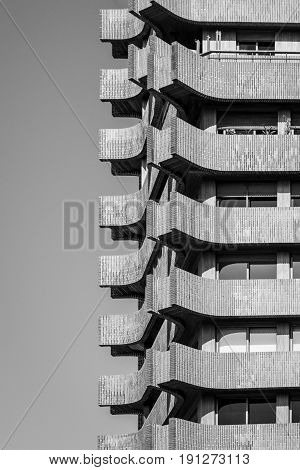 Urban Geometry Abstract Architectural Design. Inspirational Building Artistic Image. Industrial Design. Black and White.