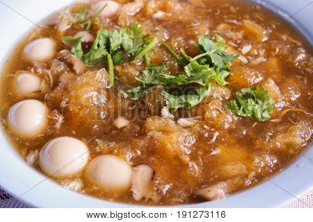 close up hot braised fish maw - Thailand food