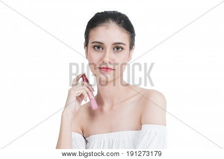 Asian Girl with perfume Asian young beautiful woman holding bottle of perfume and smelling aroma isolated on white background