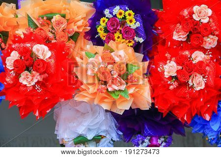colorful rose flower plastic multicolored artificial. for beautiful background