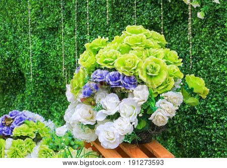 rose flower plastic artificial green whitepurple. for beautiful background