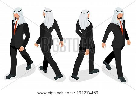 Set of Businessman Arab Man on white background. Isometric character poses. Cartoon people. Create your own design for vector.