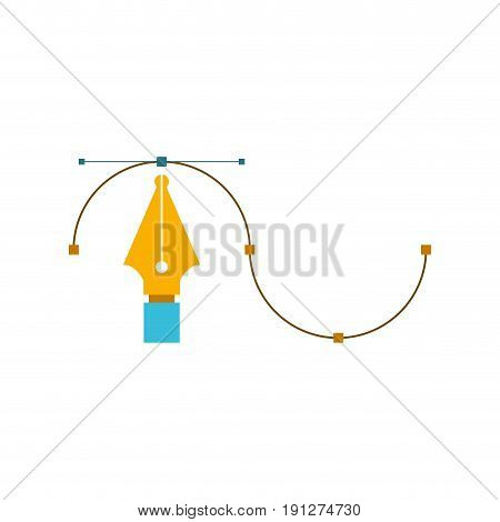 white background with colorful silhouette of fountain pen graphic tool vector illustration