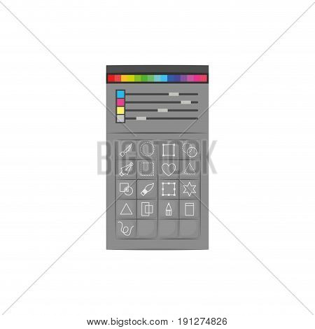 white background with colorful silhouette of color palette and tool box for designer graphic vector illustration