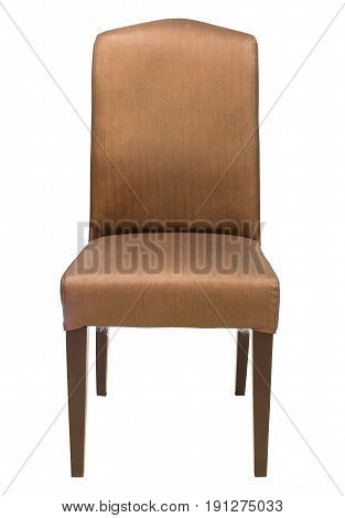 Front View Of Fabric Chair Isolated On White With Clipping Path