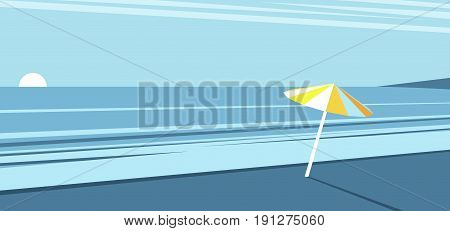 Sea beach with a yellow umbrella on the background of the morning sky the sunrise on the beach vector summer illustration