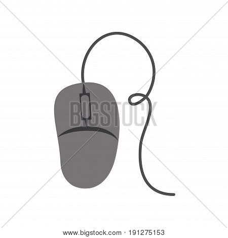 white background with gray silhouette of computer mouse vector illustration