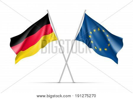 Germany and European Union waving flags on flagpole. EU sign with twelve gold stars on blue and Germany national symbol black, red and yellow colors. Two flags isolated on white background