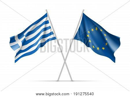 Greece and European Union waving flags on flagpole. EU sign with twelve gold stars on blue and Greece national symbol. Two flags isolated on white background