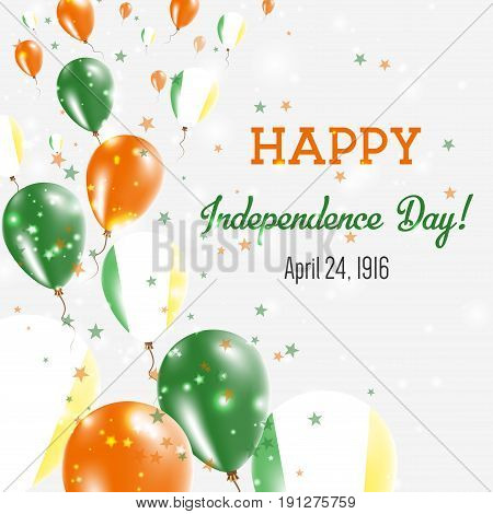 Ireland Independence Day Greeting Card. Flying Balloons In Ireland National Colors. Happy Independen