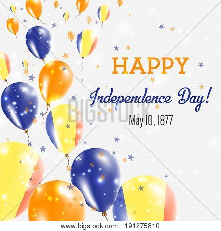 Romania Independence Day Greeting Card. Flying Balloons In Romania National Colors. Happy Independen