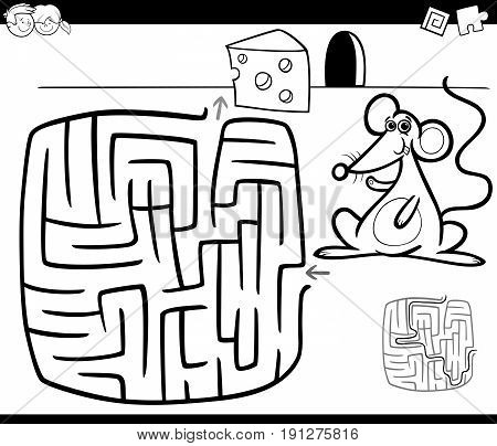 Maze With Mouse Coloring Page