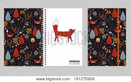 Cover set for notebooks or scrapbooks with doodle autumn forest and cute fox. Design that make you happy and inspired. Vector illustration.