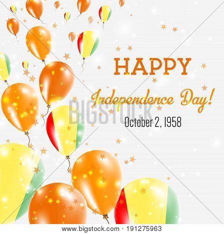 Guinea Independence Day Greeting Card. Flying Balloons In Guinea National Colors. Happy Independence