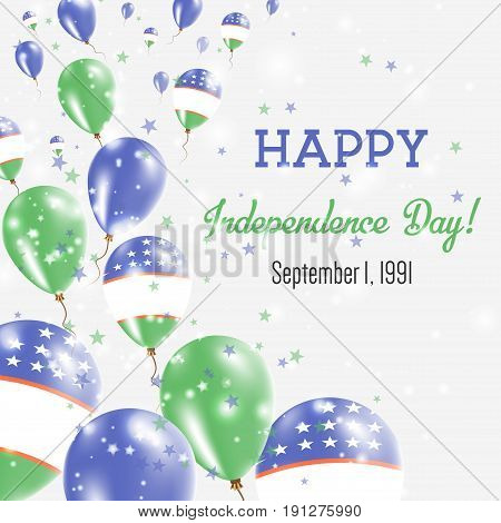 Uzbekistan Independence Day Greeting Card. Flying Balloons In Uzbekistan National Colors. Happy Inde