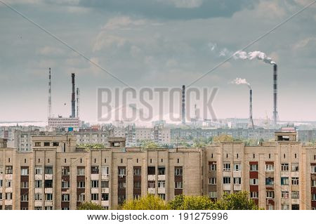 Gomel, Belarus. Mountains Of Phosphoric Acid Production Waste From Gomel Chemical Plant. Phosphogypsum. Gomel Chemical Plant Producing Phosphorus Fertilizers. Chemical Pollution