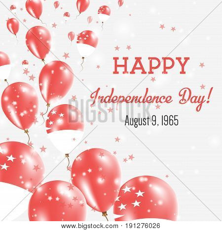 Singapore Independence Day Greeting Card. Flying Balloons In Singapore National Colors. Happy Indepe