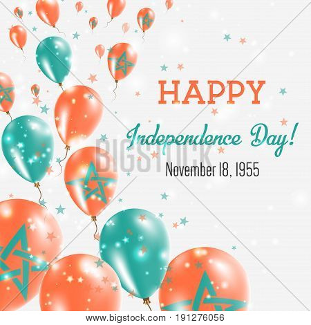 Morocco Independence Day Greeting Card. Flying Balloons In Morocco National Colors. Happy Independen