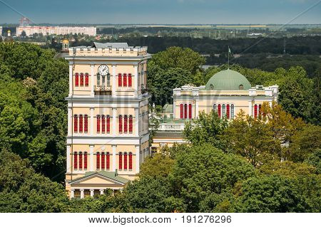 Gomel Belarus. Aerial View Of Tower Of Rumyantsevs And Paskeviches Palace And Park Ensemble, Famous Landmark In Summer Sunny Day