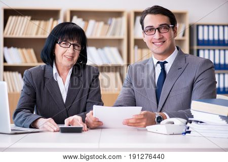 Business couple having discussion in the office