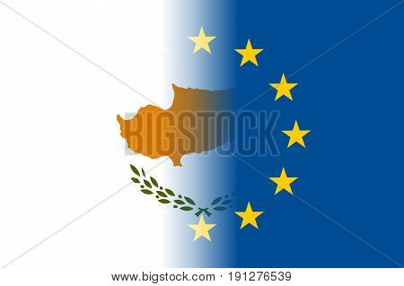 Cyprus national flag with a flag of European Union twelve gold stars, identity and unity with EU, member since 1 May 2004. Vector flat style illustration