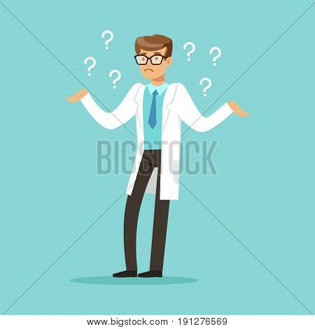 Thoughtful doctor character having many questions vector Illustration on a light blue background